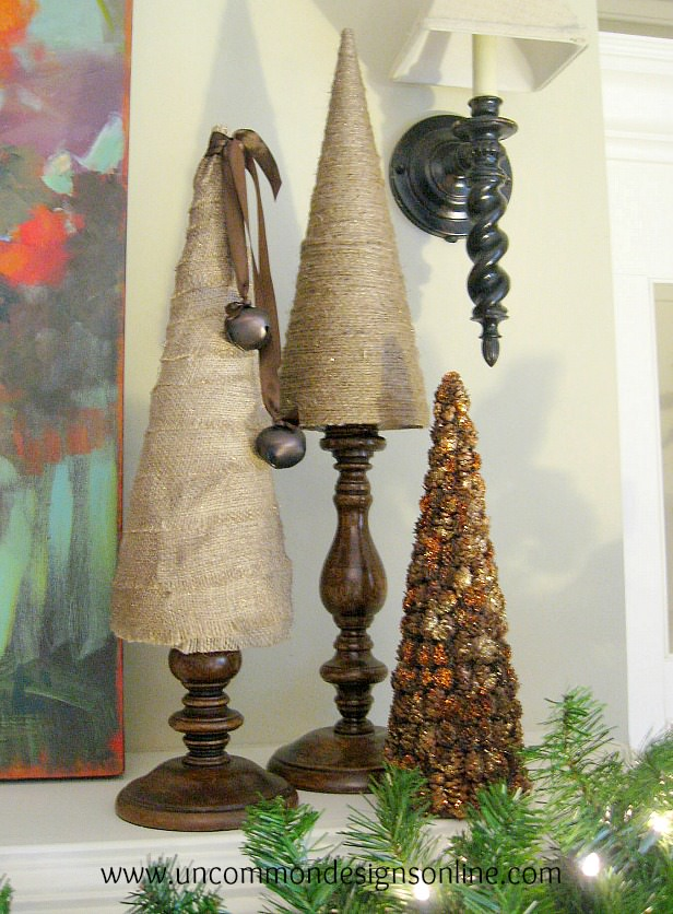 Burlap And Twine Tabletop Christmas Trees