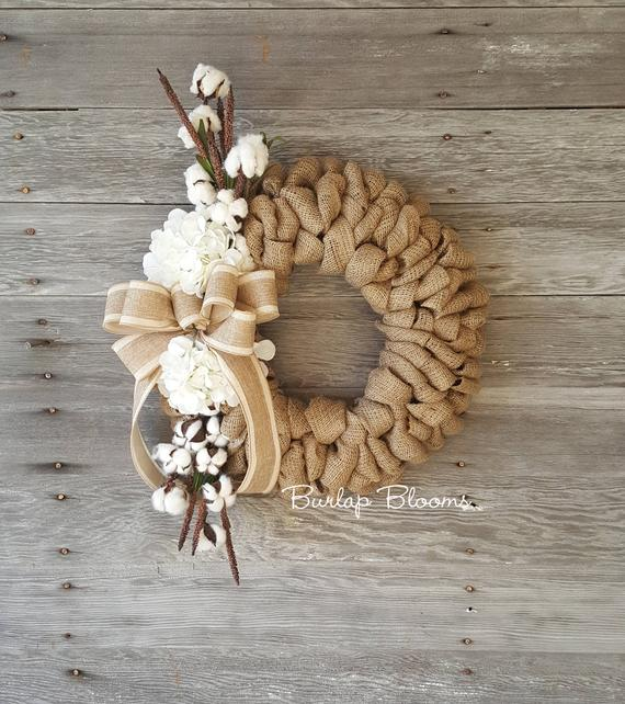 Burlap Cotton Wreath