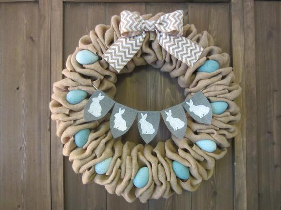 Burlap Easter Wreath With A Bunnies Banner