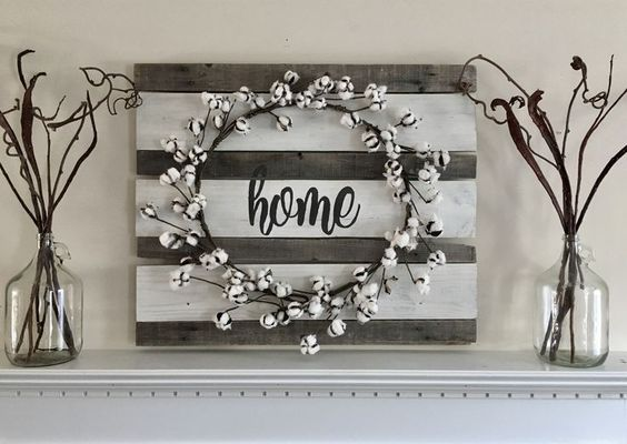 Cotton Ball Stem Wreath on Wooden Board