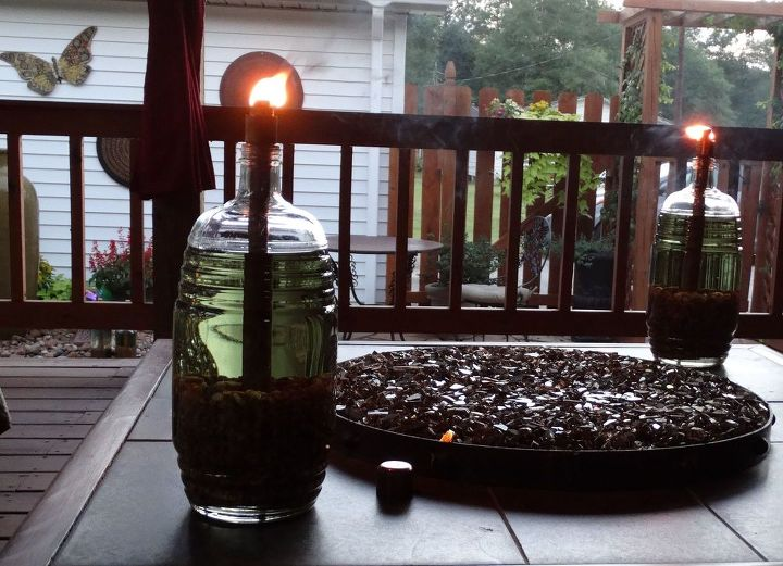 DIY Tiki Torches in Glass Bottles