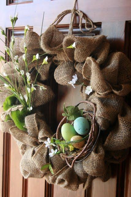 Easiest Burlap Easter Wreath
