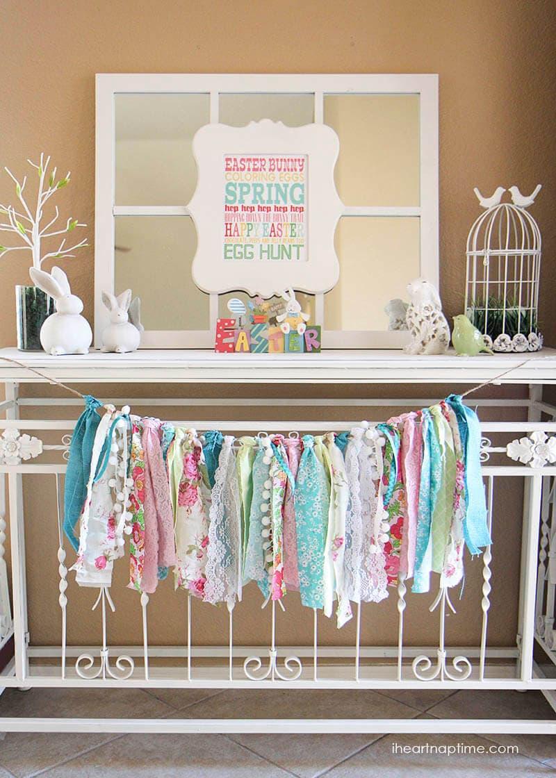 Fabric Scrap DIY Easter Garland