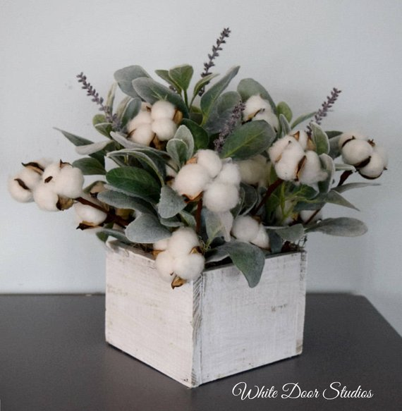 Farmhouse Cotton and Lambs Ear Arrangement in Square Wood Planter