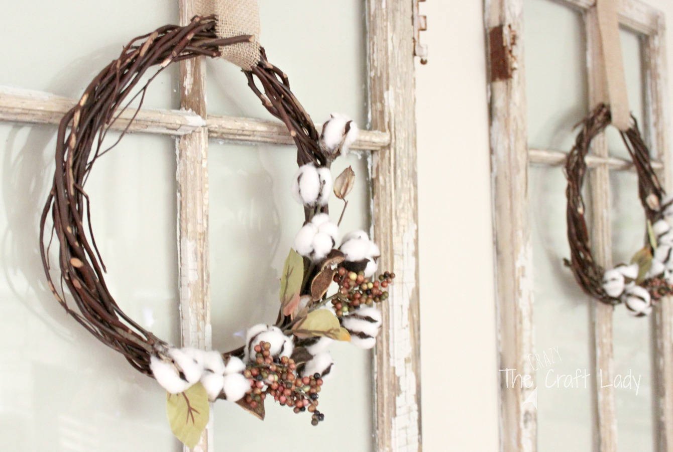 Grapevine Wreath with Cotton Ball Sprigs
