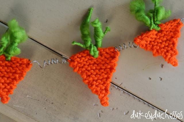 Knit Carrot Easter Garland