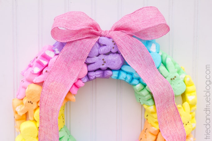 Rainbow Bunny Peeps Easter Wreath