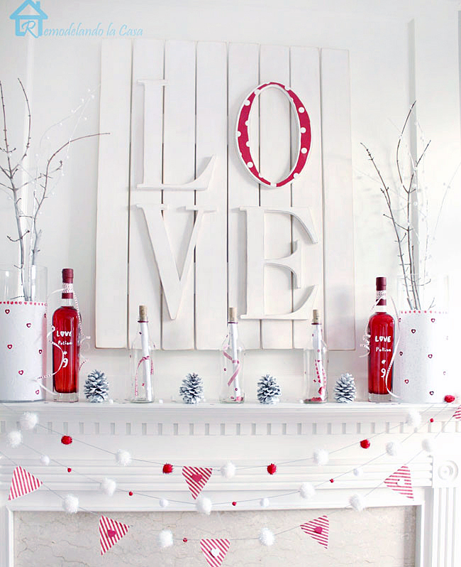 Red And White Valentines Mantel