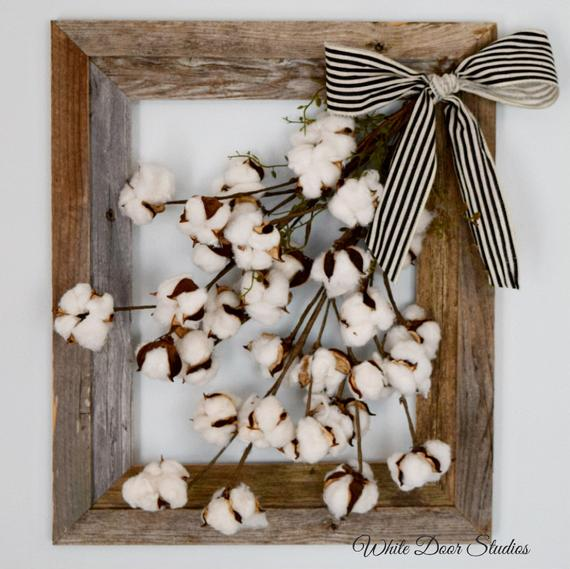Rustic Cotton Ball Stems Frame