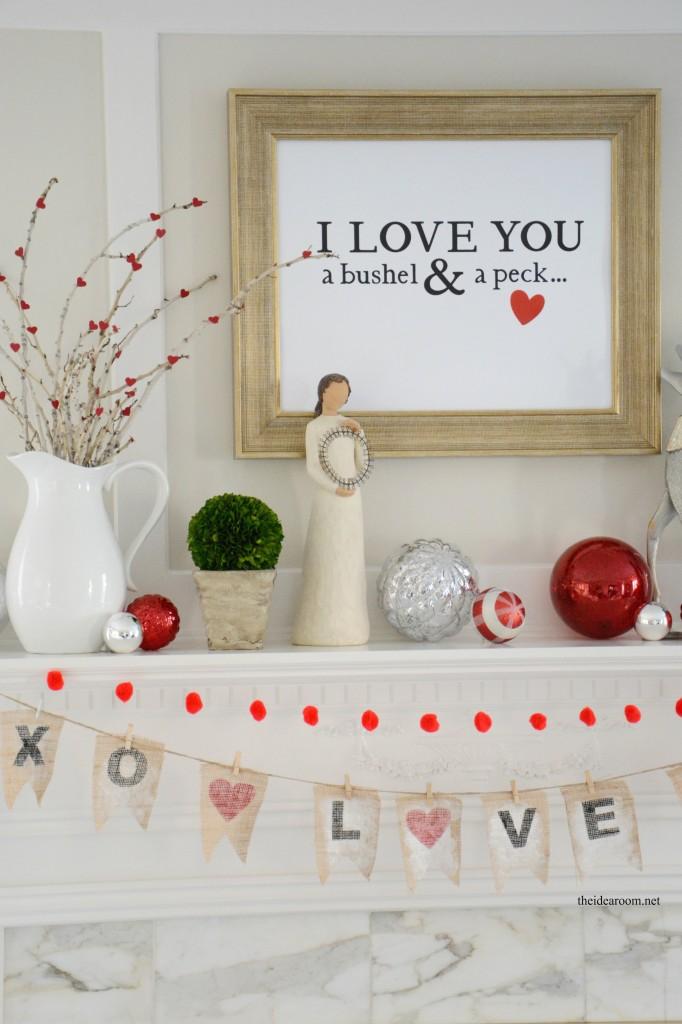 Rustic Valentines Mantel