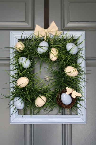 Square Grass Easter Wreath