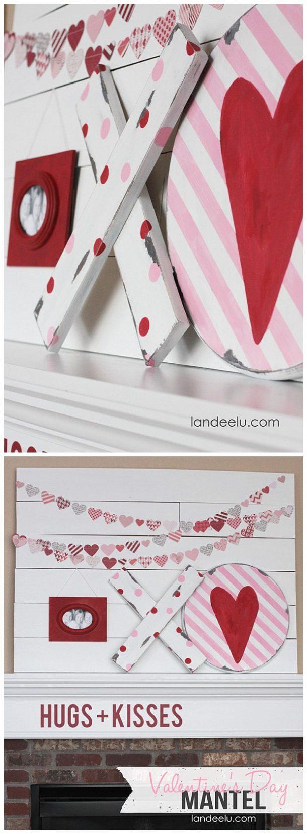 Valentines Day Mantel: Hugs And Kisses