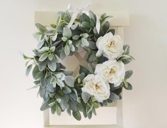Vintage Lambs Ear and Garden Rose Wreath