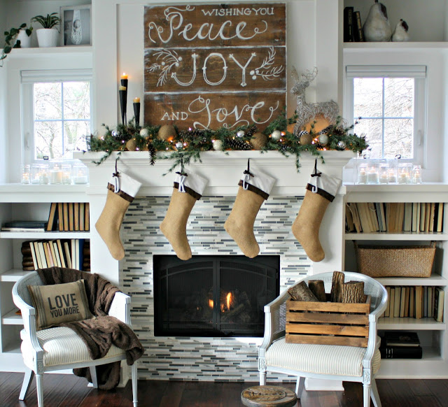 Wooden Sign and Ornaments Mantel Decor