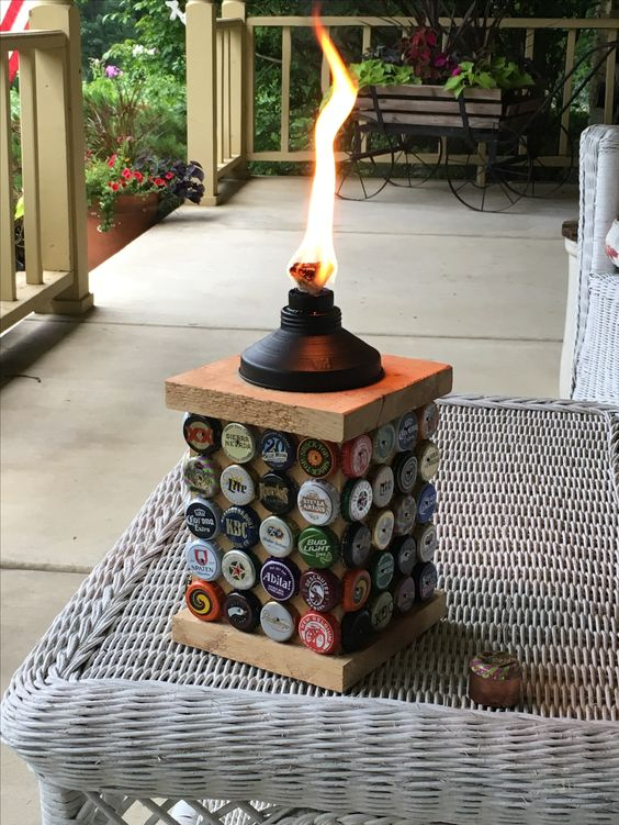 Wooden stand Torch with Bottle Cap Decor