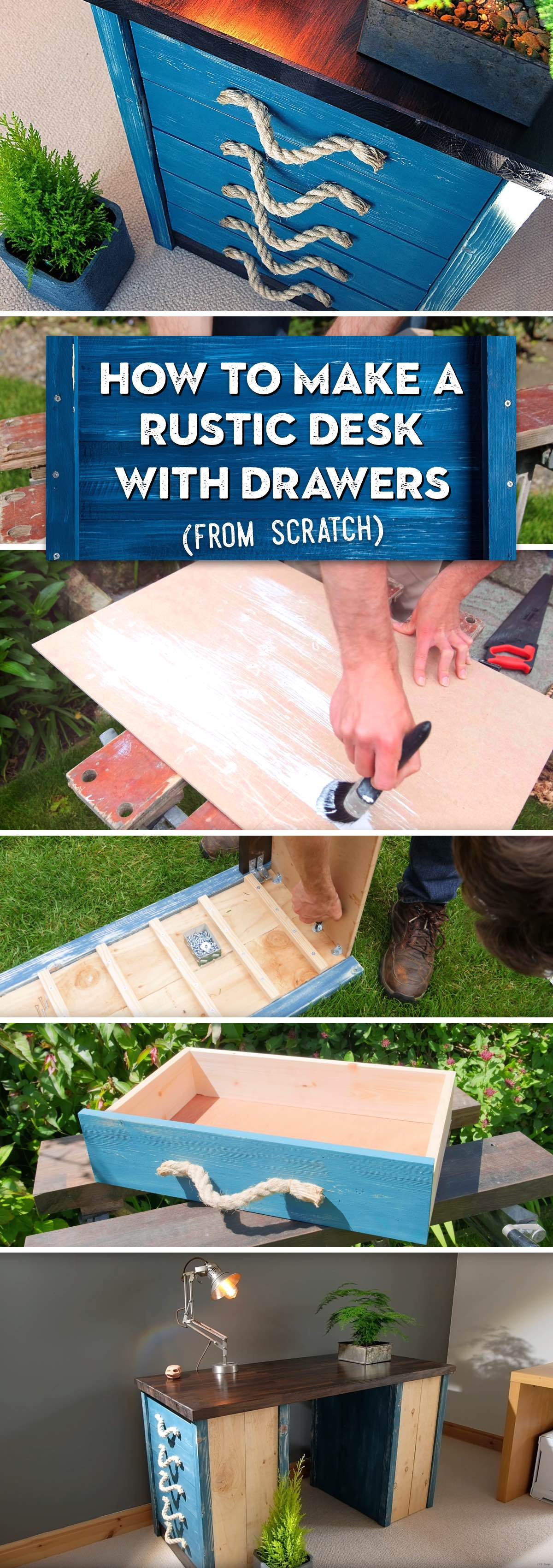 How To Make a Rustic Desk with Drawers