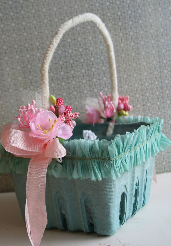 Aqua Blue Basket with Crepe Ruffles