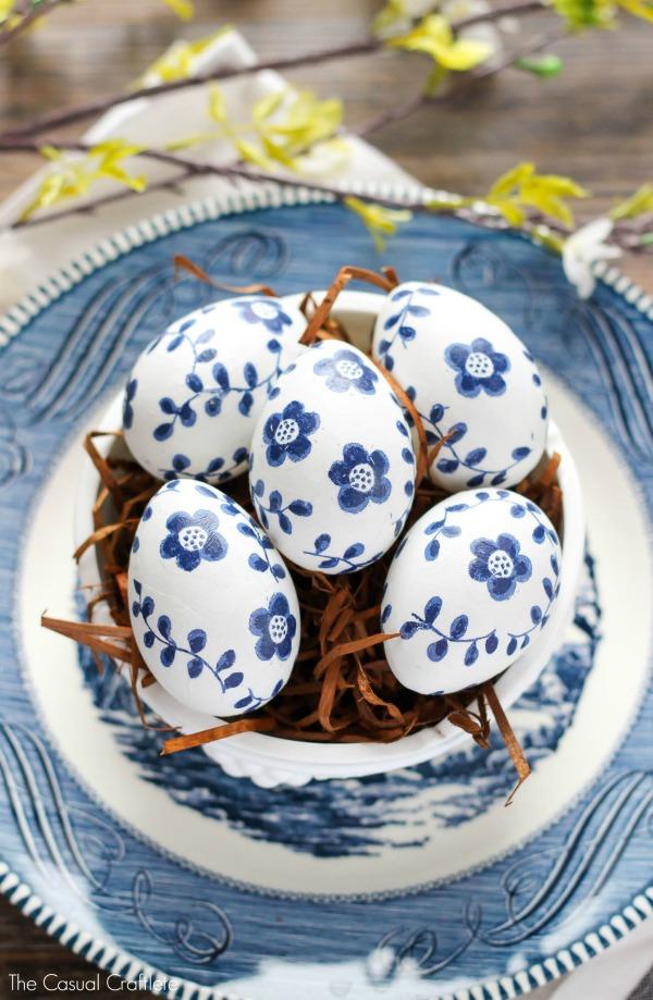 Blue and White Paper Napkin Eggs