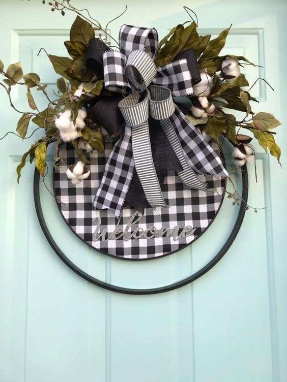 Buffalo Check Door Wreath