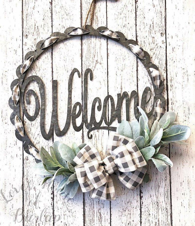 Buffalo Check Welcome Wreath