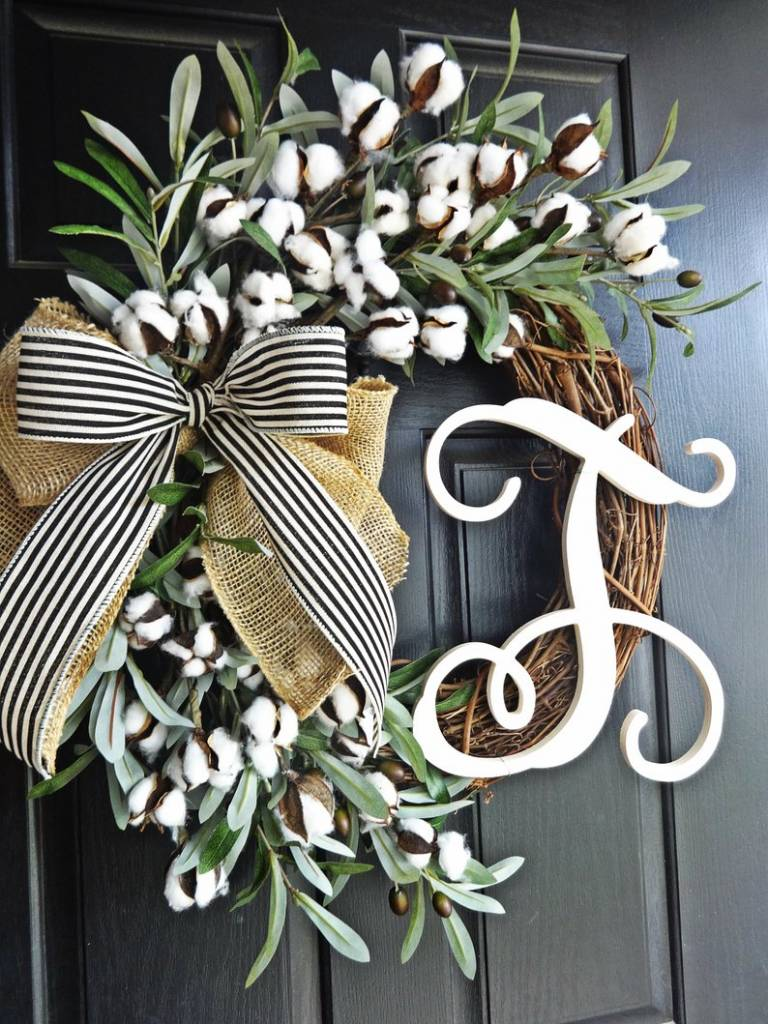 2.Cotton and Olive Branch Wreath