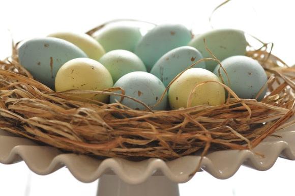 DIY Robin Blue Painted Easter Eggs