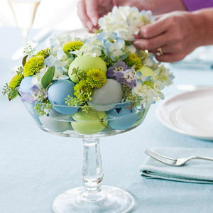 Glass Dish Easter Centerpiece