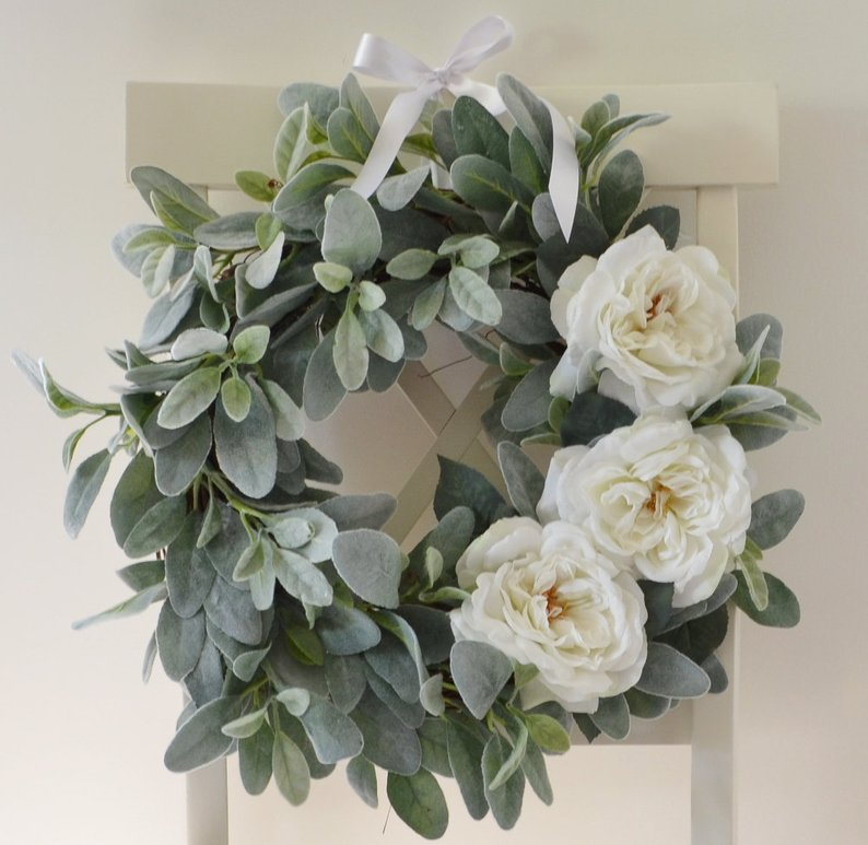 Lambs Ear and White Rose Wreath