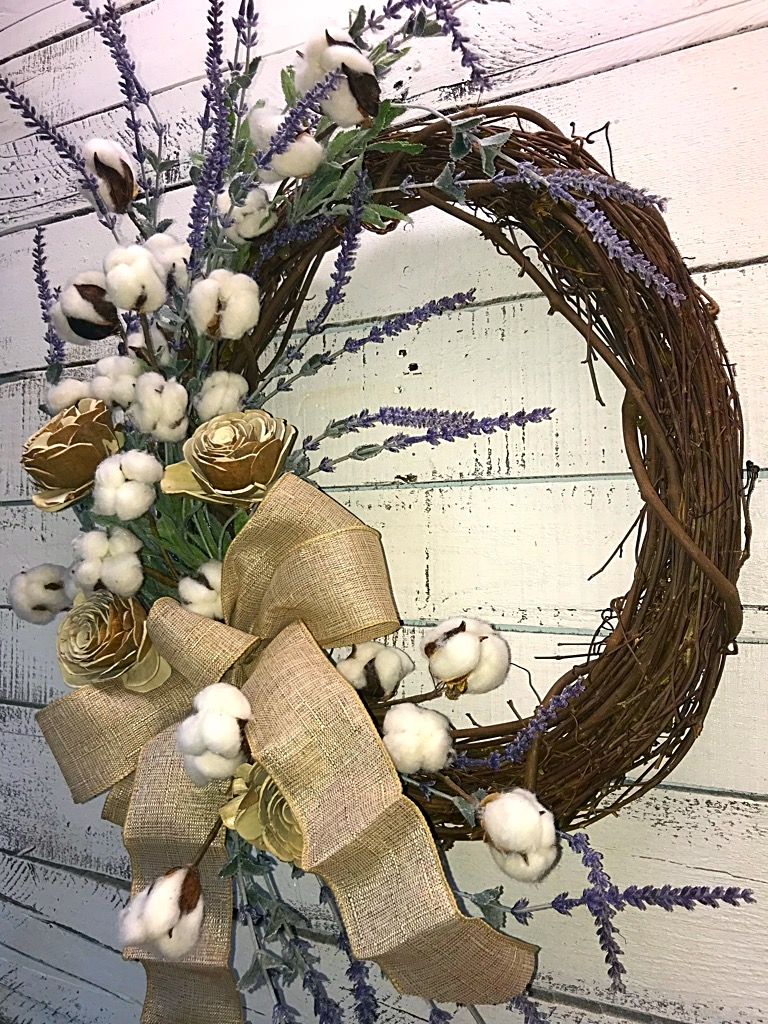 Lavender and Cotton Bolls Wreath