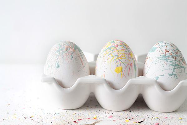 Paint Splattered Easter Eggs