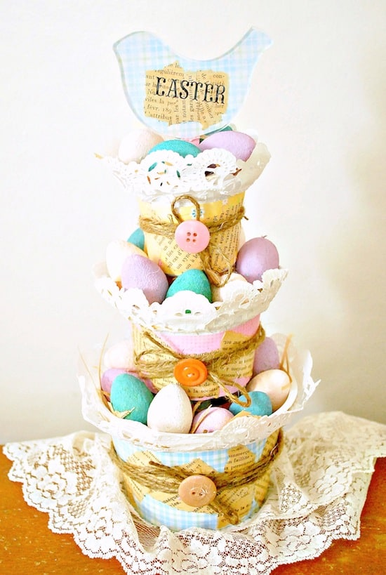 Recycled Easter Decorations Tiered Basket