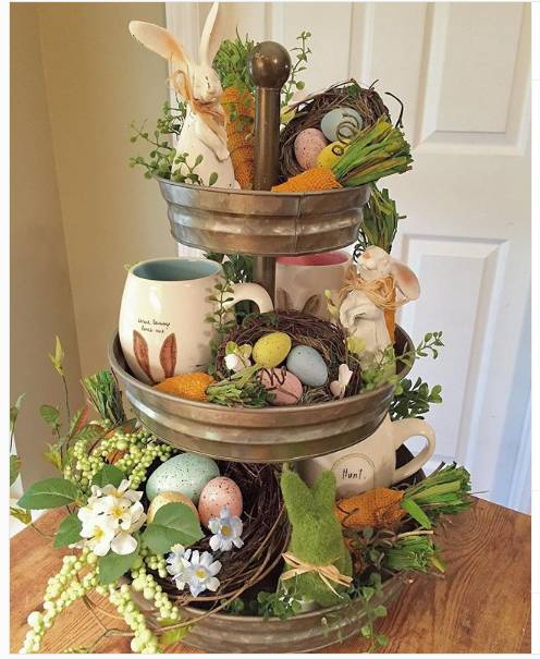 Three Tiered Tray Loaded With Easter