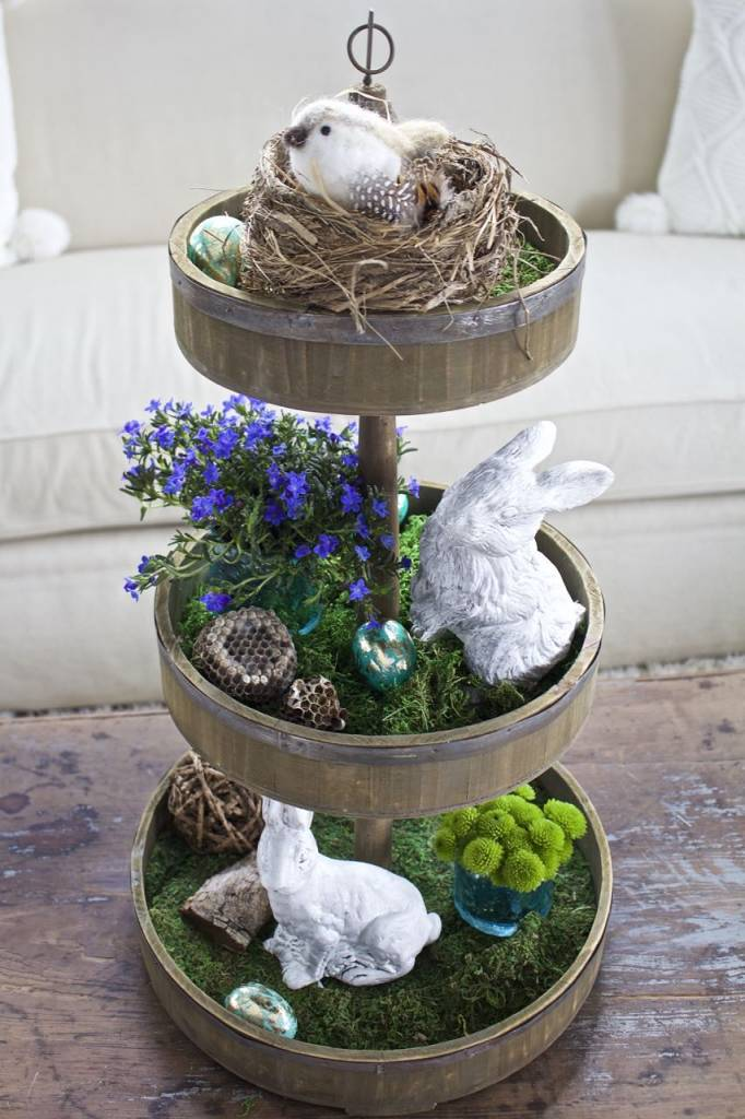 Tiered Tray Decor for Easter