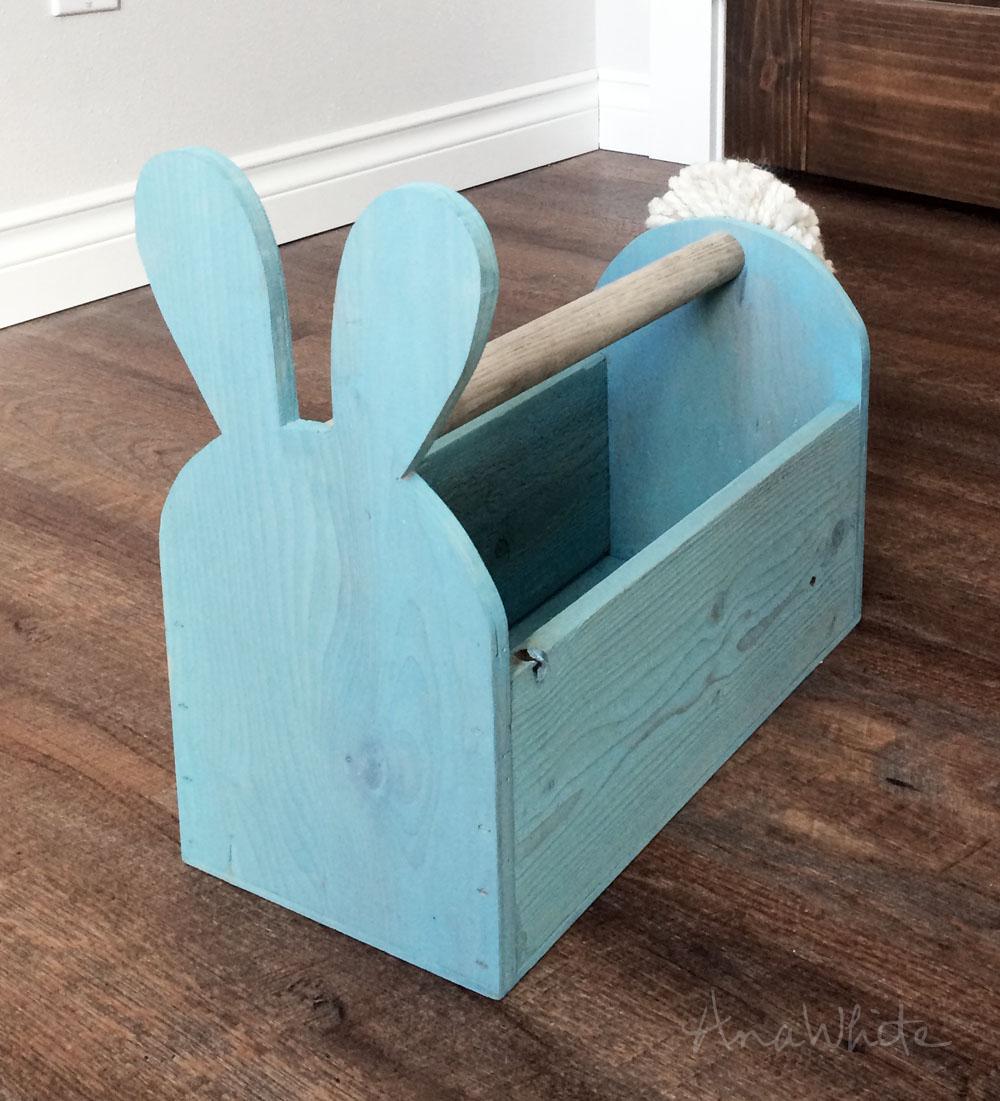 Wood Easter Basket Bunny Shaped Trug