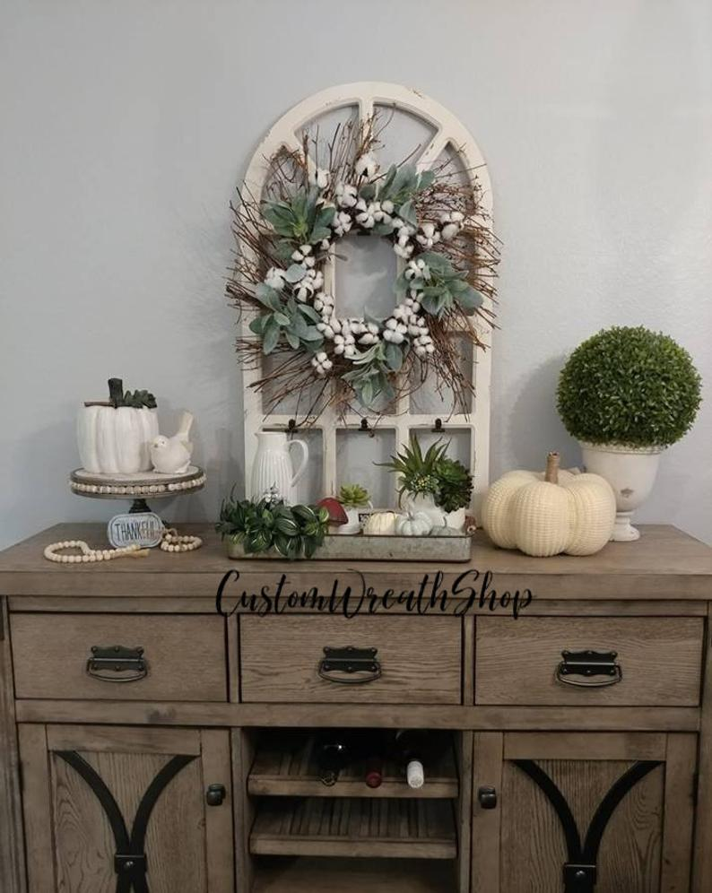 Distressed Window Pane Grapevine Wreath