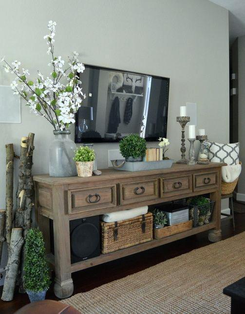 Durable TV Unit with Top Drawers
