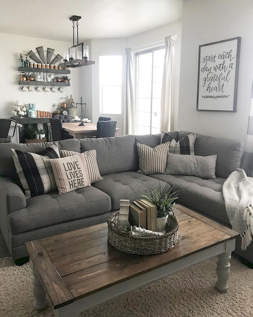 Grey and White with Wooden Accents