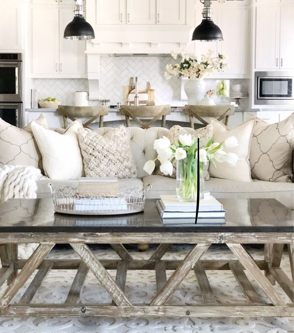 Large Sofa Sectional and Rustic Table