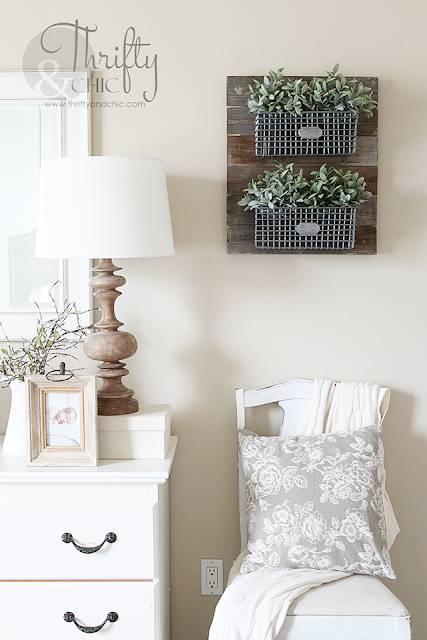 Hanging Wire Baskets On Reclaimed Wood