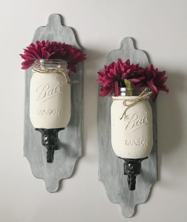 Wall Sconce Makeover With Mason Jars