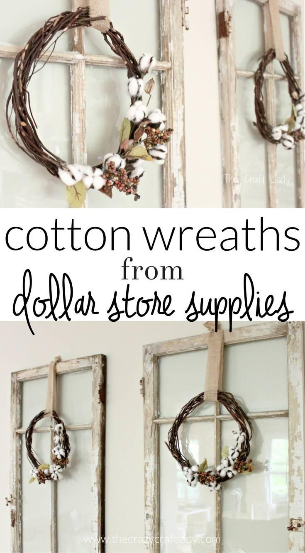 Dollar Store Cotton Wreath