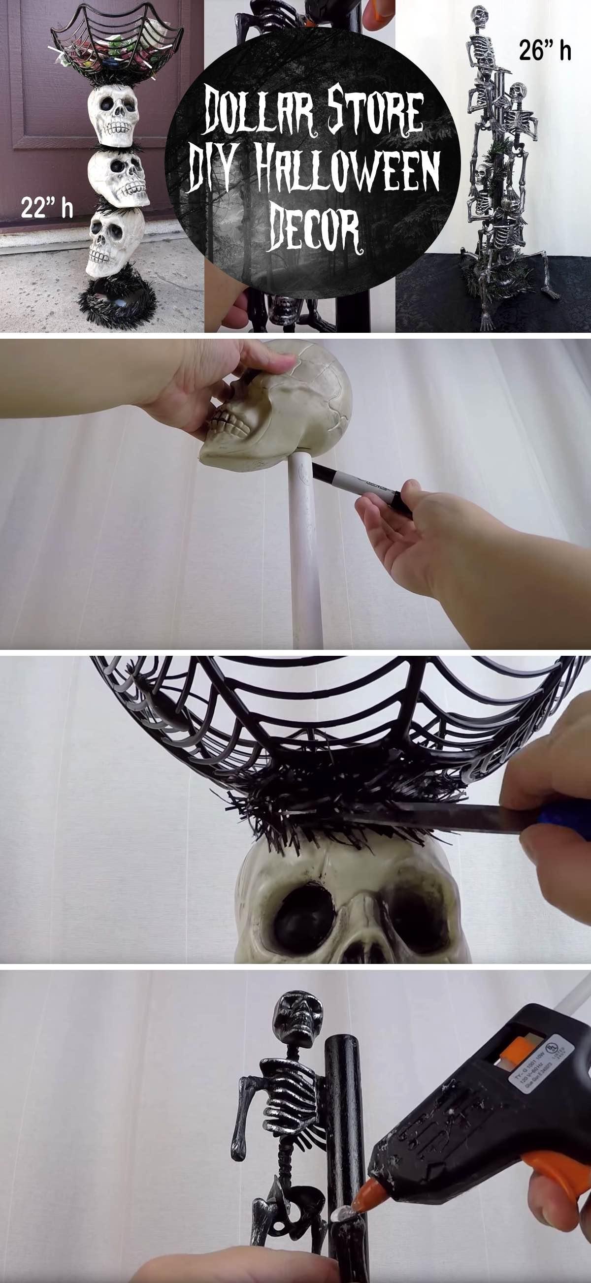 Dollar Store DIY Halloween Decor - Skull Candy Stand