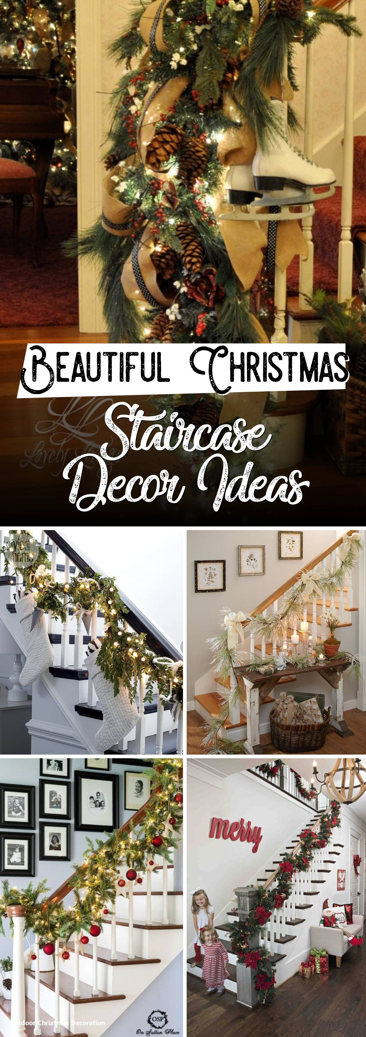 Beautiful Christmas Staircase Decor Ideas